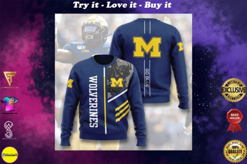 michigan wolverines football go blue full printing ugly sweater