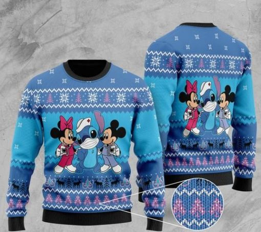 mickey mouse mickey minnie and stitch christmas ugly sweater 2