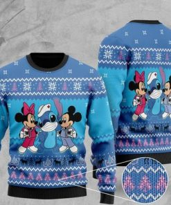 mickey mouse mickey minnie and stitch christmas ugly sweater 2 - Copy (2)