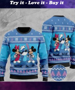 mickey mouse mickey minnie and stitch christmas ugly sweater