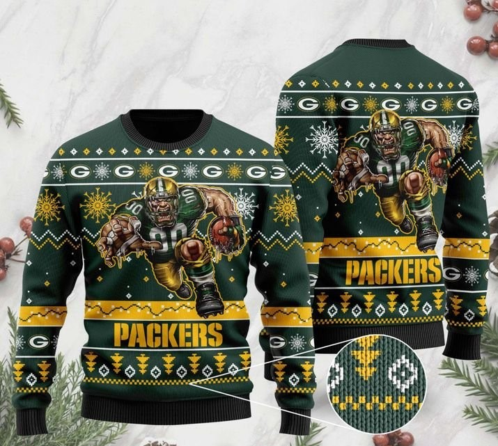 national football league green bay packers christmas ugly sweater 2