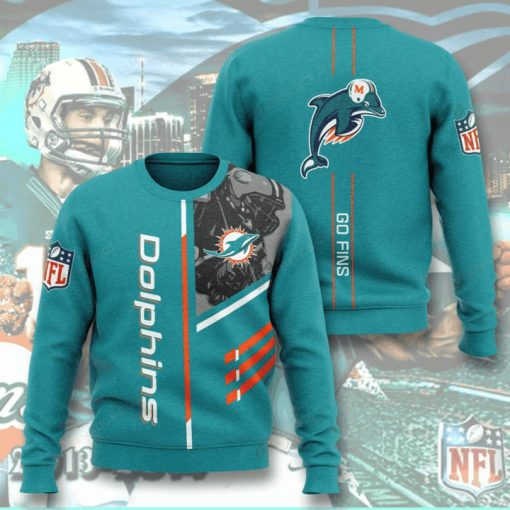 national football league miami dolphins go fins full printing ugly sweater 2