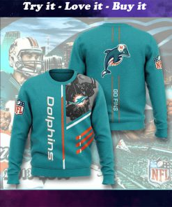 national football league miami dolphins go fins full printing ugly sweater