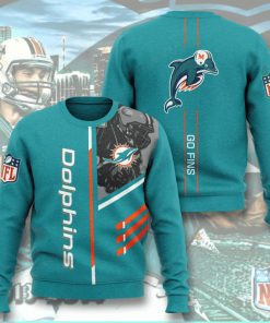 national football league miami dolphins go fins full printing ugly sweater 3