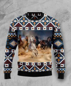 native american horses full printing pattern christmas ugly sweater 2