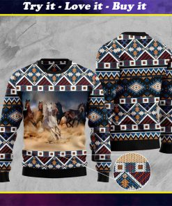 native american horses full printing pattern christmas ugly sweater