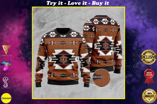 native american tribes full printing christmas ugly sweater