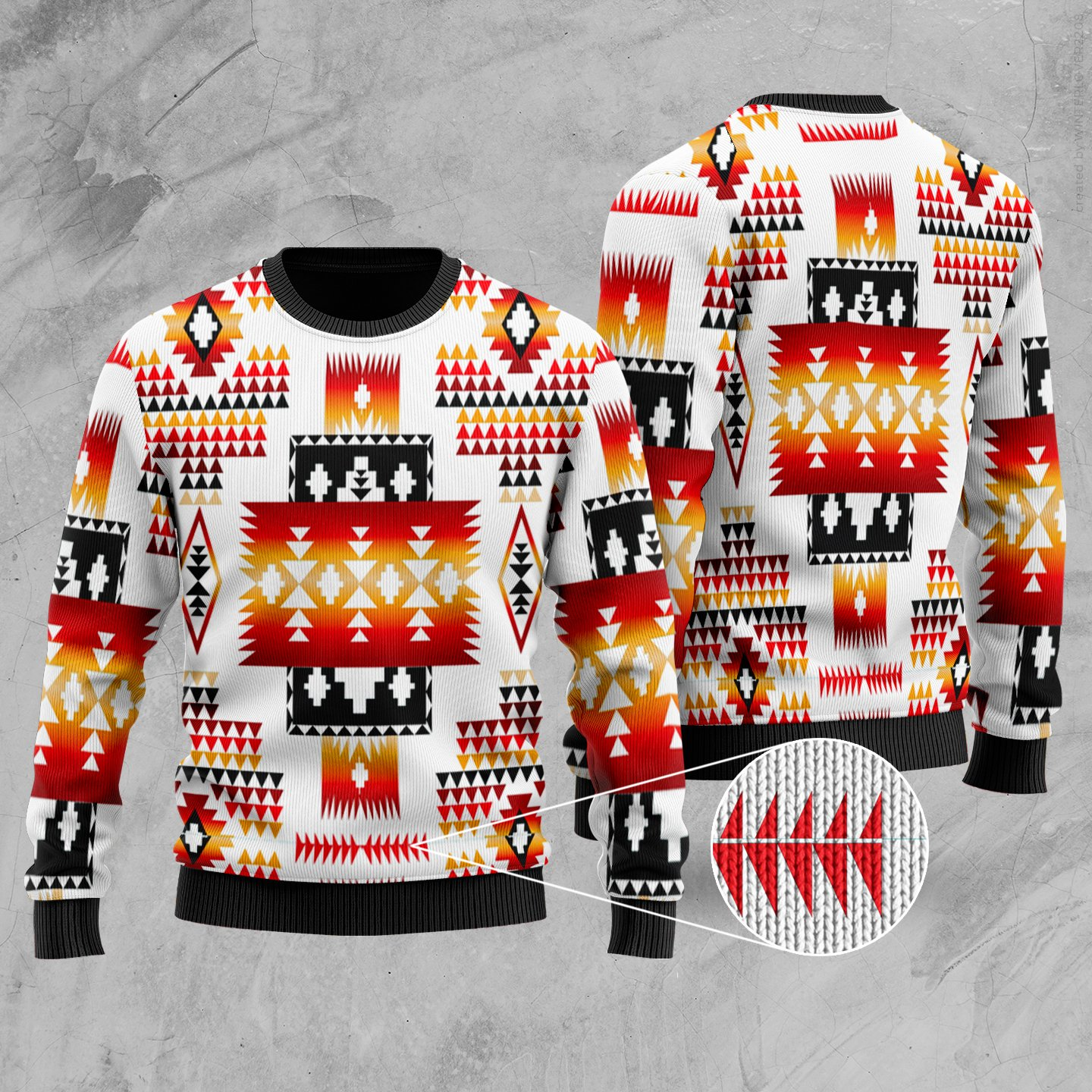 native american tribes pattern full printing christmas ugly sweater 2
