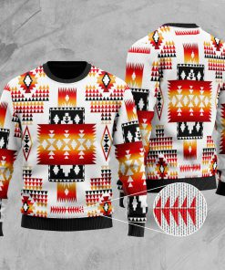 native american tribes pattern full printing christmas ugly sweater 3
