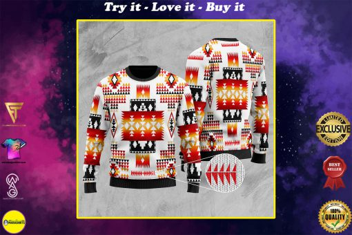 native american tribes pattern full printing christmas ugly sweater
