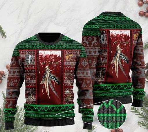 native americans on christmas days pattern full printing ugly sweater 2