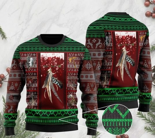 native americans on christmas days pattern full printing ugly sweater 2 - Copy (2)
