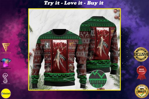 native americans on christmas days pattern full printing ugly sweater
