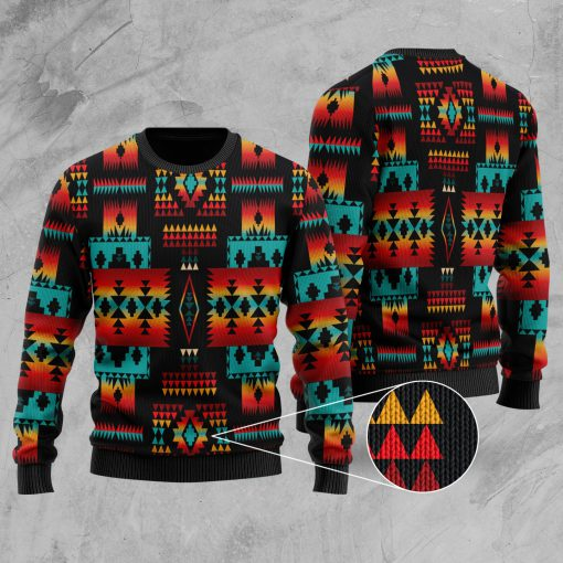 native tribes pattern native american christmas ugly sweater 3