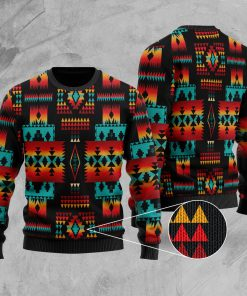 native tribes pattern native american christmas ugly sweater 4