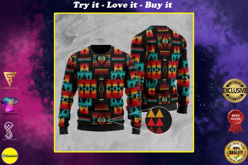 native tribes pattern native american christmas ugly sweater