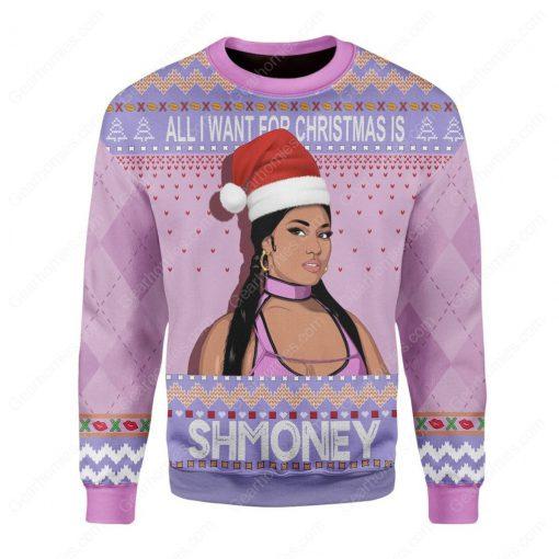 nicki minaj all i want for christmas is shmoney ugly christmas sweater 3