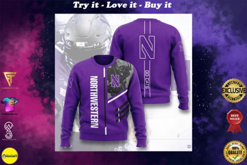 northwestern wildcats football go cats full printing ugly sweater