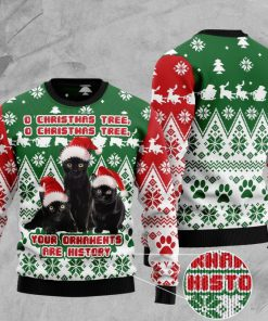 o christmas tree o christmas tree your ornaments are history cat christmas ugly sweater 2 - Copy (2)