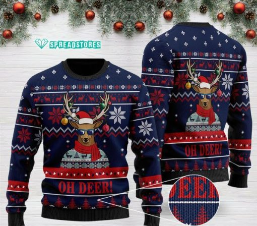 oh deer pattern full printing christmas ugly sweater 2