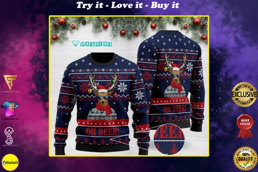 oh deer pattern full printing christmas ugly sweater