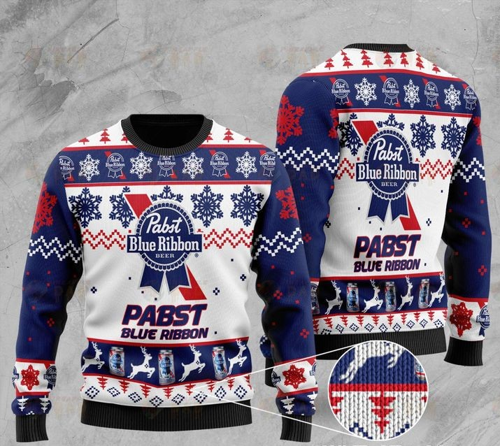 pabst blue ribbon full printing ugly sweater 2
