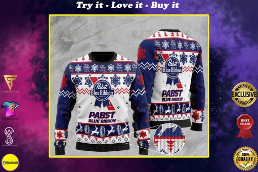 pabst blue ribbon full printing ugly sweater