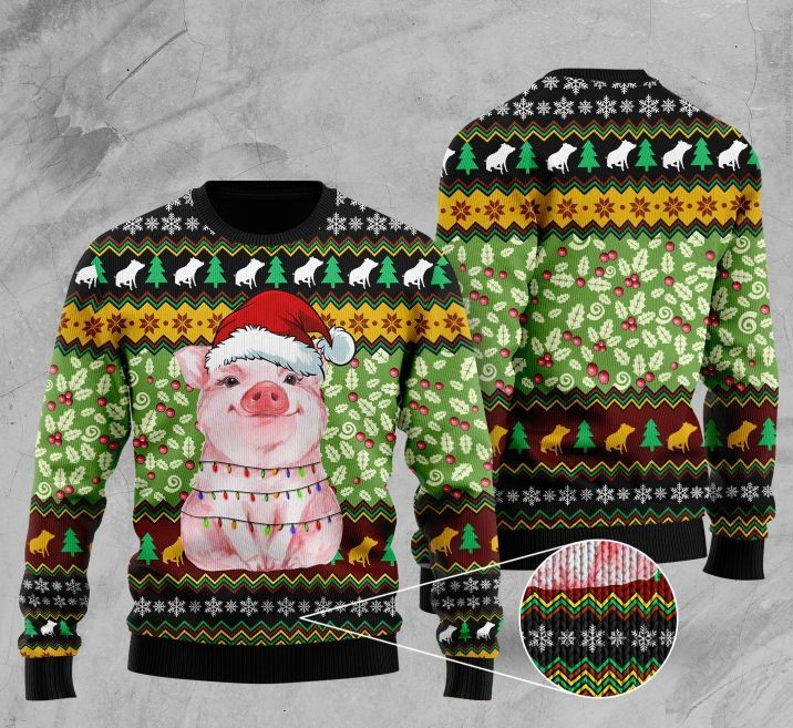 piggy with christmas light full printing ugly sweater 2