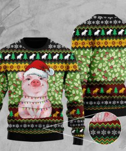 piggy with christmas light full printing ugly sweater 3
