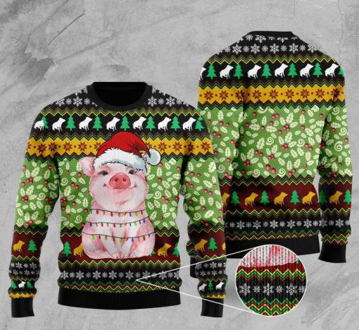 piggy with christmas light full printing ugly sweater 5