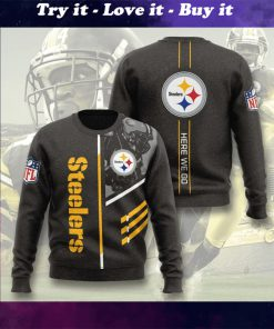 pittsburgh steelers here we go full printing ugly sweater