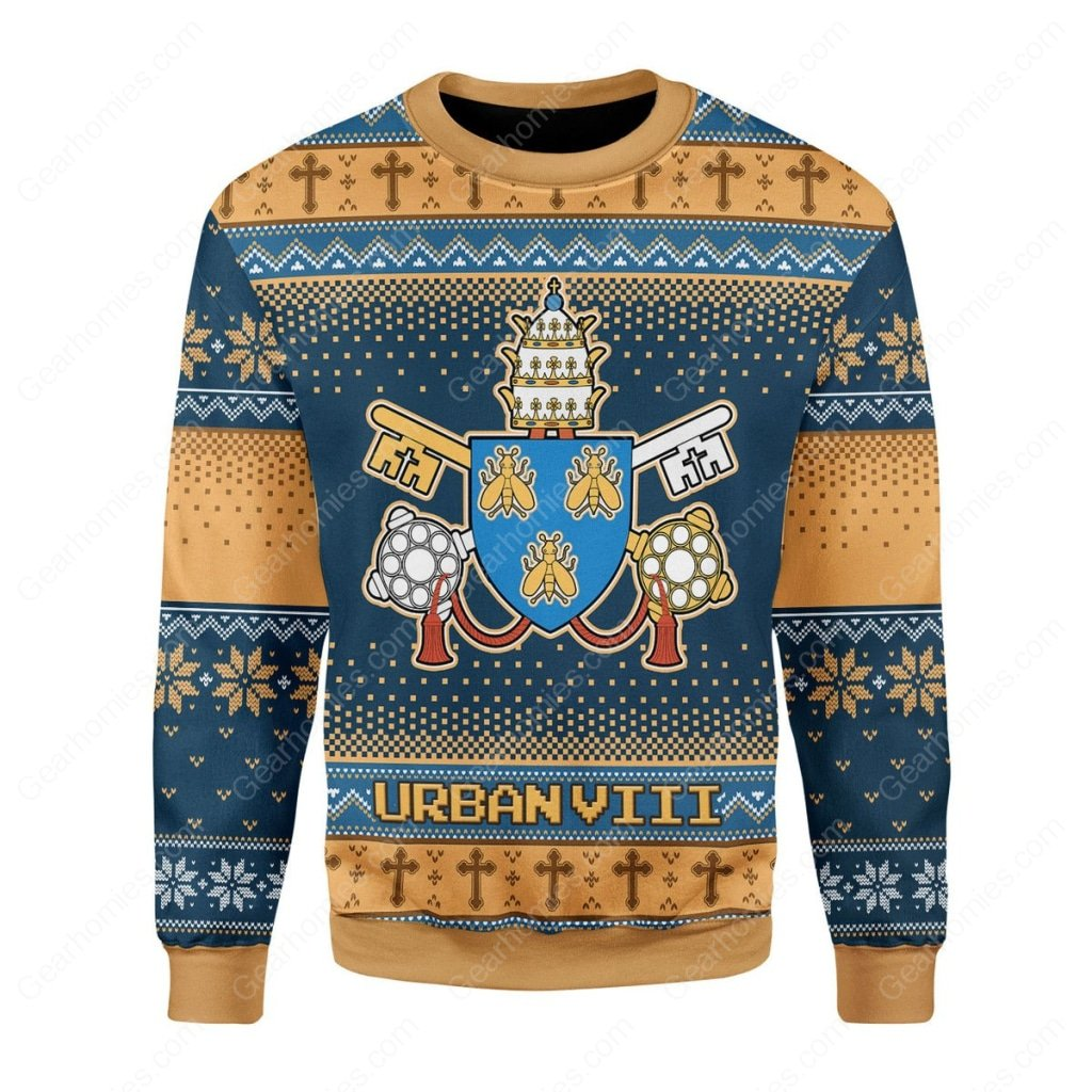 pope urban viii maffeo barberini all over printed ugly christmas sweater 3