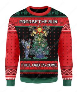 praise the sun the lord is come christmas tree all over printed ugly christmas sweater 2