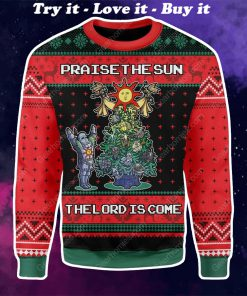 praise the sun the lord is come christmas tree all over printed ugly christmas sweater