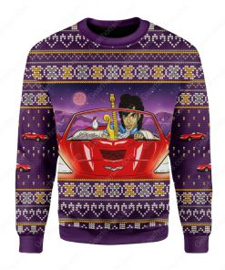 prince little red corvette all over printed ugly christmas sweater 2