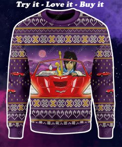 prince little red corvette all over printed ugly christmas sweater