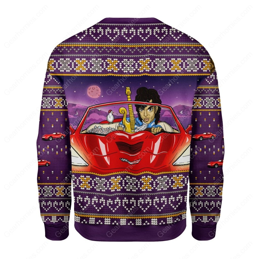 prince little red corvette all over printed ugly christmas sweater 4