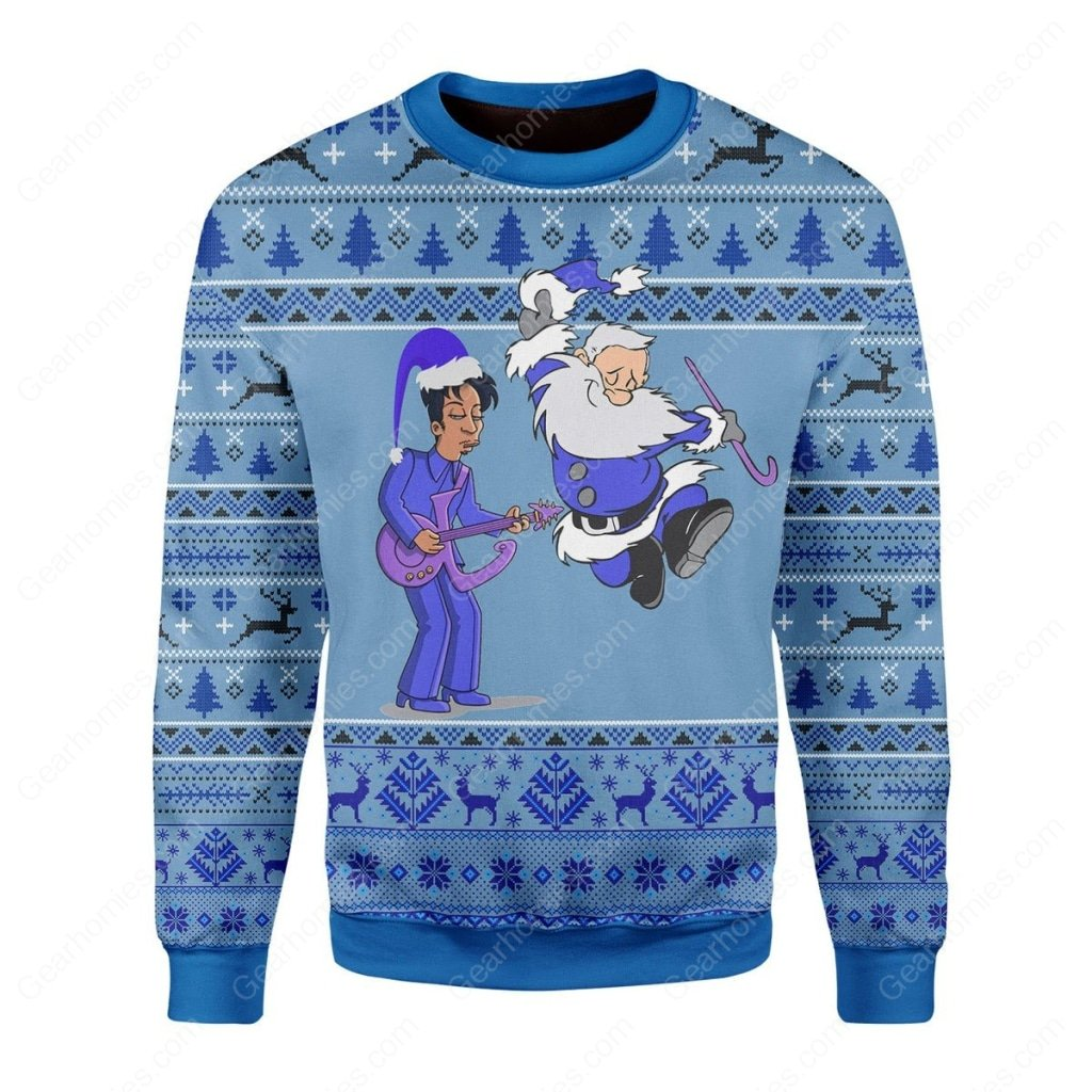 prince rogers nelson and santa claus all over printed ugly christmas sweater 2