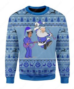 prince rogers nelson and santa claus all over printed ugly christmas sweater 3