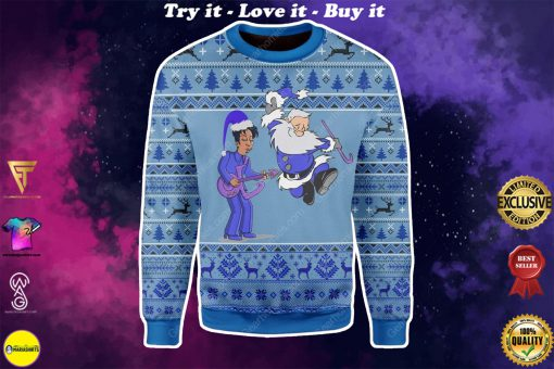prince rogers nelson and santa claus all over printed ugly christmas sweater