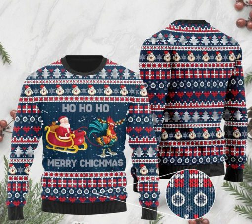 rooster and santa claus ho ho ho pattern christmas ugly sweater 2
