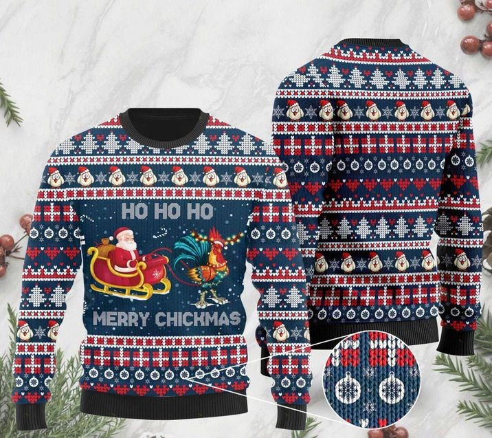 rooster and santa claus ho ho ho pattern christmas ugly sweater 2 - Copy