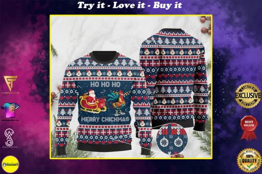 rooster and santa claus ho ho ho pattern christmas ugly sweater