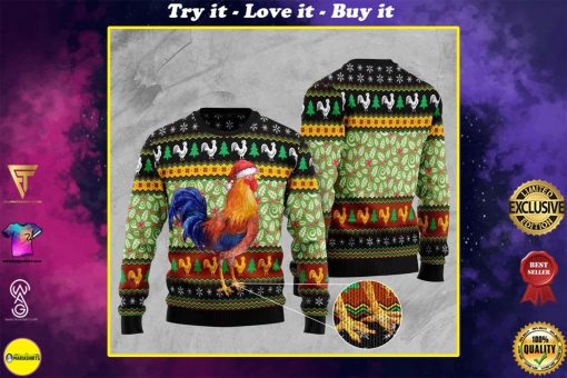 rooster lucky full printing christmas ugly sweater