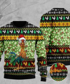 rooster with christmas light pattern full printing ugly sweater 2