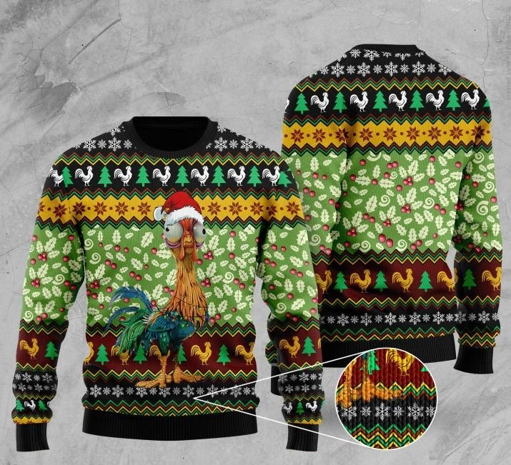 rooster with christmas light pattern full printing ugly sweater 2 - Copy