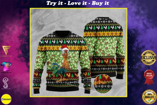 rooster with christmas light pattern full printing ugly sweater