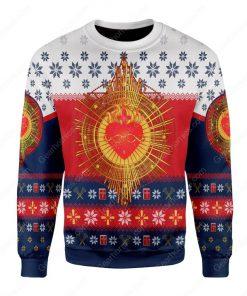 sacred heart all over printed ugly christmas sweater 3