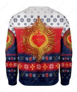 sacred heart all over printed ugly christmas sweater 4