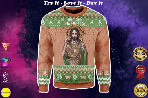 saint john the baptist all over printed ugly christmas sweater